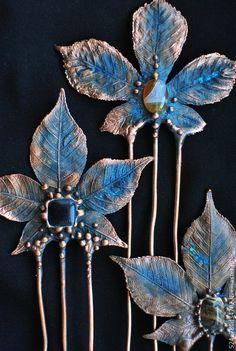 Купить Каштановые гребешки - каштан, лист, медные украшения, гребень для волос, гальваника, синий, медь