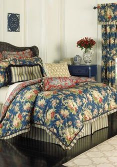 Bring your bedroom to life with the eye-catching Waverly Sanctuary Rose Reversible Comforter Set. The charming bedding is decked out in blush florals on a striking blue ground that reverses to a cream and blue toile on a rich red ground. Rose Comforter, Toile Bedding, Blue Comforter Sets, King Bedding Sets, Blue Bedding, Waverly Bedding, Quilt Sets, Bedding Collections, Luxury Bedding