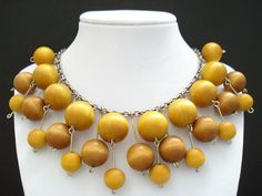 Vintage Aarikka Finland Wood Ball Modernist Bib Style by Objeks Wooden Jewelry, Handmade Jewelry, Light Golden Brown, Pewter Color, Jewellery Storage, Finland, Beaded Necklace, Necklaces, Fashion Statements