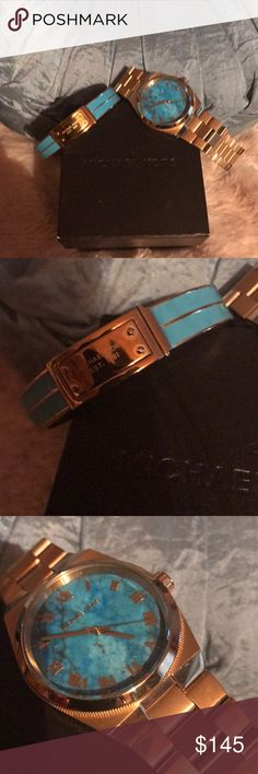Authentic Michael Kors bracelet and watch set! Brand new with box, no extra links for watch, watch is running. Awesome teal blue color! KORS Michael Kors Accessories Watches