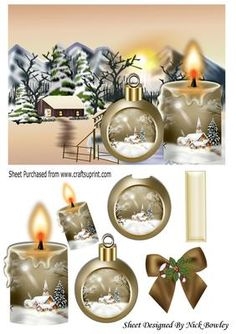 Lovely snow scene with cottage beige candle and bauble  on Craftsuprint - Add To Basket!