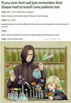 she isn't in slytherin, how does she not get detention for not doing what Snape told her to?<<< She too precious, not even Snape could give her detention Harry Potter World, Mundo Harry Potter, Harry Potter Jokes, Harry Potter Fandom, Harry Potter Universal, Harry Potter Imagines, Cute Harry Potter, Harry Potter Cast, Luna Lovegood