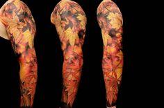 Maple leaf sleeve tattoo by Dmitriy Samohin