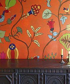 Kristin Nicholas Pumpkin Sunset Garden Mural Room View 1