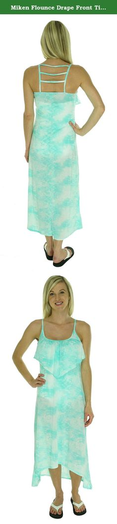 Miken Flounce Drape Front Tie-Dye Maxi Dress Swimsuit Cover Up, Mint, Medium. This is a New with Tags, Cover Up Dress100% PolyesterSweet style on the beach! A cute swimsuit deserves a cute cover up! Layer on this flirtycover updress for a pretty poolside look. Its lightweight material offers an airy, comfortable fit. Pair with flip flops or sandals to complete the outfit.PolyesterMachine washableImportedPullover style.