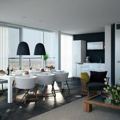 Living room and kitchen interior design ideas black and white
