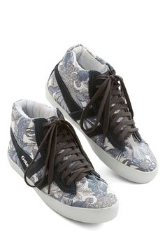 Gotta Get Outside Sneaker - Flat, Leather, Woven, Grey, Black, Floral, Casual, Urban, Best, Lace Up