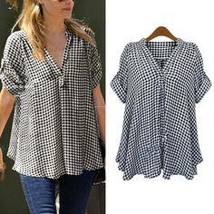 Mulheres Plus Size Solto Camisa de Algodão de Manga Curta Top Blusa Casual Xadrez em Blusas & Camisas de Das mulheres Roupas & Acessórios no AliExpress.com | Alibaba Group