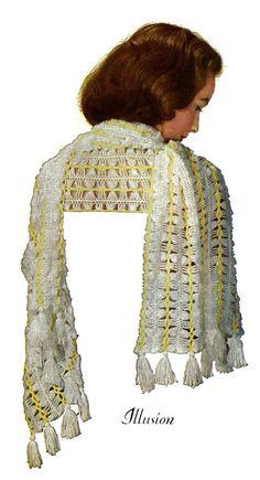 Instant Download Shawl Wrap Stole Hairpin Lace Vintage Crochet Pattern PDF ePattern