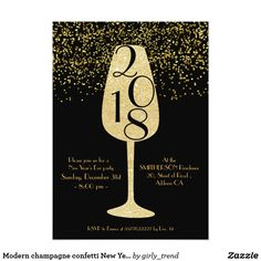 modern champagne confetti new years eve party invitation