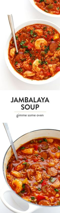 This Jambalaya Soup recipe can be made with shrimp, chicken, Andouille sausage -- or all three! It's easy to make, and so hearty and delicious.   gimmesomeoven.com Cajun Recipes, Seafood Recipes, Soup Recipes, Cooking Recipes, Healthy Recipes, Water Recipes, Delicious Recipes, Haitian Recipes, Vegetarian Recipes