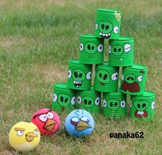 Chamboulle Tout - Angry Cans Nursing Home Activities, Party Activities, Activities For Kids, Games For Kids, Diy For Kids, Crafts For Kids, Angry Birds, Tin Can Crafts, Diy And Crafts