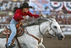 Donna Toavs of Stevensville drives home in the barrel racing event with a time of 15.74 seconds during the Big Sky Pro Rodeo Roundup at the Montana State Fair Saturday, August 4, 2012.