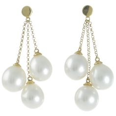 A pair of chain and pearl drop earrings featuring six drop shaped pearls measuing 8-9mm with a good lustre and clean surface set to 18ct yellow gold stud fittings with three alternating lengths of chain to create a tassel effect. #WhiteSouthSeaPearlJewellery #RutherfordJewellery #Melbourne