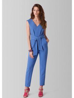 Blue V Neck Tie Front Jumpsuit