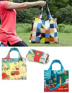 Brightly colored whimsical tote bags that fold up into a matching stuff sack for easy travel.