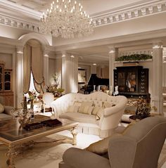 O.M.G.!! - ABSOLUTELY LOVING THIS EXQUISITE ROOM!! - THE CHANDELIER!! - THE GORGEOUS WHITE SOFA.........JUST FABULOUS!! #️⃣