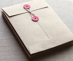 5 Limited Edition String and Button Envelopes by BellaStationery