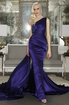 Romona Keveza One Shoulder Deep Blue Evening Gown - Vivaldi Boutique