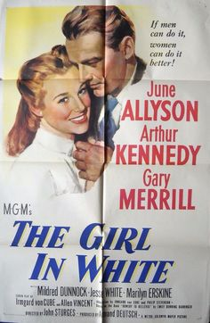 THE GIRL IN WHITE MOVIE POSTER June Allyson Biography of 1st Woman Intern/MD NY