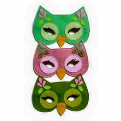 perfect for kids sewing. owl mask for those dress up days Sewing For Kids, Baby Sewing, Sewing Crafts, Sewing Projects, Owl Mask, Manualidades Halloween, Animal Masks, Felt Art, Felt Animals