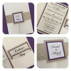 Gorgeous cream pocket invitation. Champagne glitter and purple make a very classy combination.  Visit us on Etsy or directly on our page URinvited.us