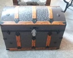 Steamer Trunk/ Coffee Table/End Table/Accent Piece Trunk Redo, Trunk Makeover, Old Trunks, Antique Trunks, Vintage Steamer Trunk, Painted Trunk, Lego Table, Cottage In The Woods, End Tables