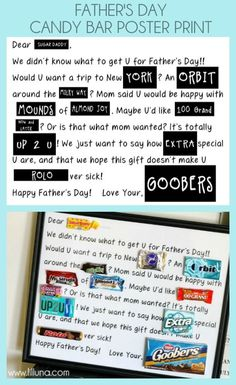 Fathers Day Candy Bar Poster - Free print on { lilluna.com } #fathersday