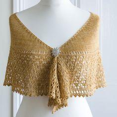 Bridal shawl in a crescent shape in a honey by CrimsonRabbitBurrow