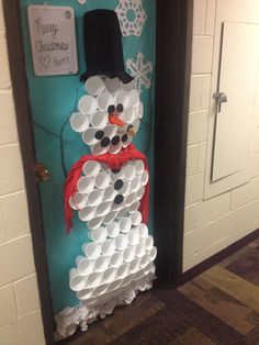 Christmas Dorm Door Decorations are certainly one inseparable area of the Christmas holidays, without which Christmas would lose its color, spirit, wa. Front Door Christmas Decorations, School Door Decorations, Christmas Front Doors, Christmas Classroom Door, Christmas Room, Christmas Snowman, Christmas Holidays, Christmas Door Decorating Contest, Snowman Door