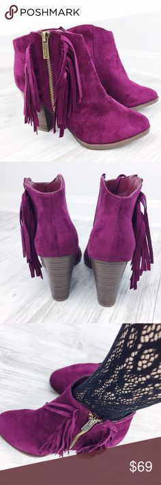 "Wine Fringe Booties This is a staple for your closet! These gorgeous suede ankle booties in color wine pair perfectly with jeans or tights! Features a side zipper and fringe. These will be your new favorite booties! Heel Height: 4"". True to size.   * Before asking, please note whatever sizes are listed below are all I currently have in stock.   ▫️Add to Bundle"" to add more items in my closet or ""Buy"" to checkout here with your size.  ↓Follow me on Instagram ↓         @ love.jen.marie…"