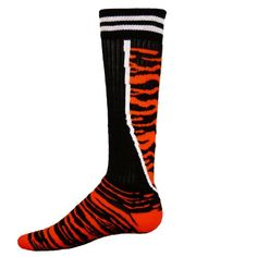 Red Lion Socks Top Cat Athletic Socks ( Black / Orange - Small ) Made by #Red Lion Socks Color #Black / Orange. Tiger Stripes with a Zipper Layout. Ultra Soft Acrylic Body. Heel and Toe Construction for Better Fit. Made with Pride in the USA