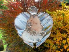 Glas Schutzengel / Tiffany Technik / Glasmalerei / Advent Deko/ Fensterbild / Anhänger von RosasPotpourri auf Etsy