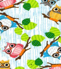 Snuggle Flannel Fabric-Owls On Branches