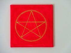 Pentagramm Schutz Symbol Rot Gold Magie Mystik von Bezauberndes