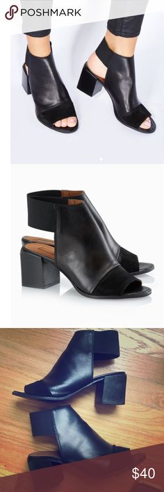"Topshop sling back peep toe bootie Smooth suede sets off the peep toe of a bold, modern block-heel sandal finished with a stretchy slingback strap. 2.5"" heel. 3.5"" ankle strap height. Leather upper, synthetic lining and sole.  Size 39 but fits 8.5 Topshop Shoes Ankle Boots & Booties"