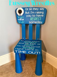 Excited to share the latest addition to my shop: Gender Neutral Time Out Chair - Ready to Ship Summer Bulletin Boards, Time Out Chair, Terrible Twos, Toddler Discipline, Girls Time, In Case Of Emergency, Diy Chair, Vinyl Lettering, Raising Kids