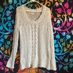 Beige Knit Sweater No flaws! Hardly worn. Not super thick so it doesn't add like ten pounds lol.  Let me know if you have any questions! Make offers! Old Navy Sweaters Crew & Scoop Necks