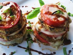 Leaning tower of Pisa Eggplant/Caprese Salad - Had something very similar this weekend at Da Francesco, and it was amazing