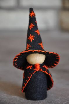 The Small Wooden and Wool Felt Witch is a wonderful toy and would be the perfect addition to an autumn nature table and for your Halloween