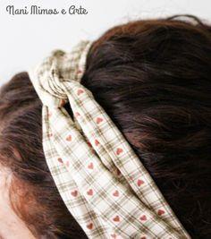 Nani Mimos e Arte: Faixa turbante com elástico para os cabelos