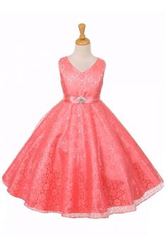 Coral Floral Pattern Flower Girl Dress with Satin Sash Coral Flower Girl Dresses, Coral Dress, Dresses Kids Girl, Lace Dress, Flower Girls, Flower Patterns, Pattern Flower, Satin Sash, Coral Pink