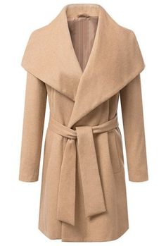 Elegant Turn-Down Collar Waistband Long Sleeve Long Sections Worsted Coat For Women