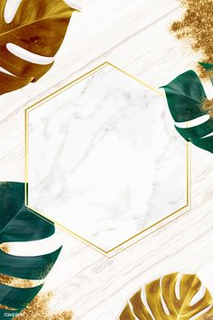 Hexagon golden nature frame on a marble background vector | premium image by rawpixel.com / Adj / HwangMangjoo
