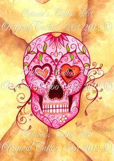 Sugar Skull Art | Sugar Skull Tattoo - Signed - Tattoo Art - Pink Skull - Its a Girl ...