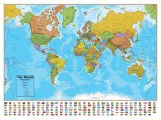 Hemispheres Blue Ocean World Wall Map, Laminated Educational Poster Pôster laminado