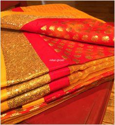 Shibori Banarasi brocade body and Banarasi net palla.