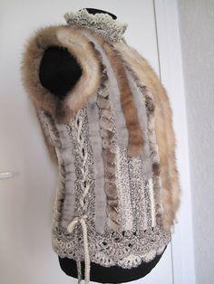 меховой жилет Crochet Blouse, Knit Crochet, Fur Clothing, Faux Fur Vests, Fur Jacket, Fur Trim, Couture, Refashion, Dress Patterns