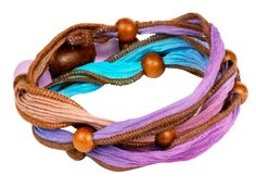 This gorgeous, boho Caribbean driftwood convertible silk ribbon necklace/bracelet is perfect for the spring and summer! Create your own easily today! Get all the components at AntelopeBeads.com