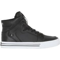 Supra Men Vider Leather High Top Sneakers (4520 TWD) ❤ liked on Polyvore featuring men's fashion, men's shoes, men's sneakers, shoes, men, black, mens hi tops, mens sneakers, mens shoes and mens black shoes
